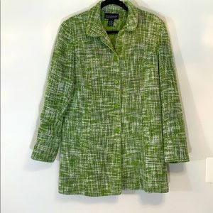Dialogue size 14 tweed short coat hallmark green